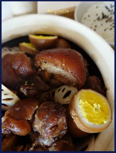 Black vinegar-braised pork knuckle, eggs, lotus root.