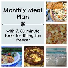 April Menu Plan & 7, 30 Minute Tasks for Filling the Freezer. Recipes, tips, and tricks for filling your freezer while you cook your normal meals!