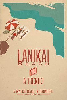 Lanikai Beach  12x18 Retro Hawaii Print by EverythingIsJake, $18.00