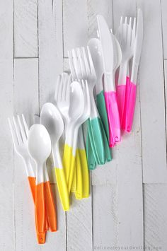 DIY painted plastic cutlery.we love these colours but simple to do for any colour themed wedding.