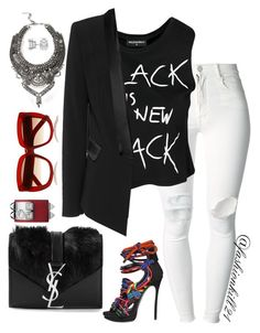 """""""Black is the new Black"""" by fashionkill21 ❤ liked on Polyvore featuring (+) PEOPLE, Sally&Circle, Yves Saint Laurent, Dsquared2, Allurez, DYLANLEX, women's clothing, women's fashion, women and female"""
