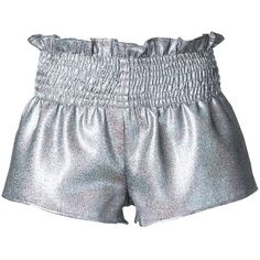 Georgia Alice Comet shorts ($371) ❤ liked on Polyvore featuring shorts, grey, metallic shorts, silver metallic shorts, gray shorts, metallic hot shorts and micro short shorts