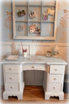 shabby chic office desk. An Upcycled Home Office Nook. Shabby Chic Desk T