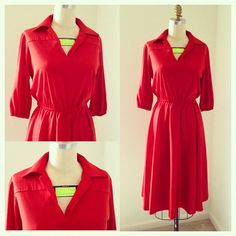 Red Vintage Dress  Mad Men  Poppy Red by ExoticPearIndustries, $40.00