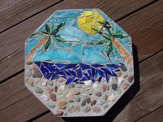 Stained Glass Mosaic Garden Stepping Stone with Palm Trees Beach Scene