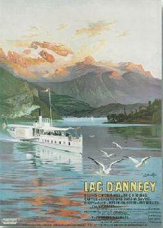 Affiche vintage de Hugo D'ALESI Lac d'Annecy