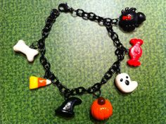 Polymer Clay Halloween Charm Bracelet by Cupcake17x on Etsy. , via Etsy.
