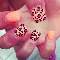 Peach and pink leopard nails.  | See more nail designs at http://www.nailsss.com/acrylic-nails-ideas/2/