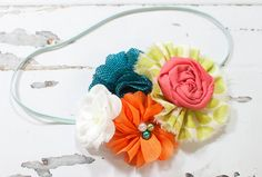 Two to Tango - headband in coral pink, orange, teal, apple green and white - M2M Persnickety - Sweet Pea by SoTweetDesigns on Etsy
