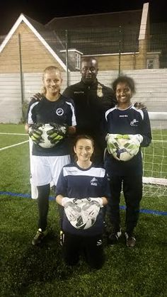 Another J4K Success story ...  Julian Roberts J4K South East London has been working very hard this year with Jess Parlane on the right. Sindi Kanto down on one Knee. Simone Eligon on the left.  The Millwall Lionesses Centre of Excellence girls all wear Just4keepers goalkeeper gloves   Hard work does pay off email j4ksports@gmail.com if you wish to go to your nearest J4K Class! ‪#‎TheJ4KFamily‬ ‪#‎J4KSouthEastLondon‬