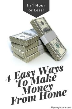 These 4 easy ways to make money from home takes no more than 1 hour (sometimes less) to accomplish. Do them at home, during break times or on the go.