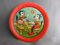 Early Lithographed Tin Toy Dishes with Cartoon Animals. Tray and from grannymares on Ruby Lane