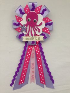 Mommy to be ribbon corsage for baby shower - under the sea - octopus