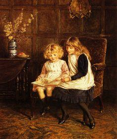 """Reading Lesson"" by Helen Allingham (1848-1926)"
