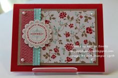 Supplies (all Stampin' Up!): Stamps: Happiest Birthday Wishes Paper: Real Red, Whisper White, Crumb Cake cardstock; Fresh Prints Designer Se...