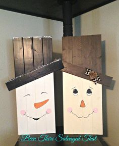 Double Sided Scarecrow / Snowman Fall & Winter Decor by BugJunkie