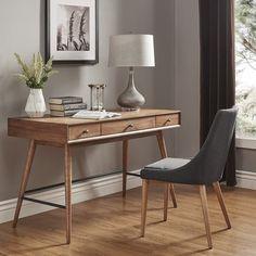 Aksel Brown Wood 3-Drawer Writing Desk iNSPIRE Q Modern