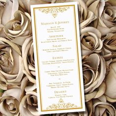 Menu ideas great Gatsby inspired -Etsy listing at https://www.etsy.com/listing/169159516/printable-wedding-menu-template-vintage