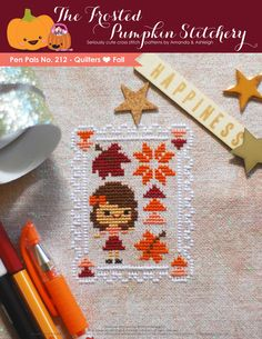 Pen Pals No. 212 - Quilters Love Fall PDF Cross Stitch Pattern $5.95 Size: 2.8 x 3.5in Suggested Fabric: CRYSTAL Cashel