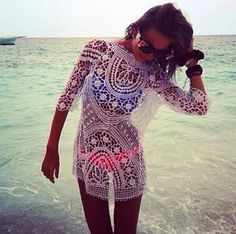 Adorable White Lace Swim Suit coverup