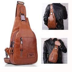 Ekphero® Men Casual Genuine Leather Oil Wax Chest Bag Crossbody Bag Euro 33,50