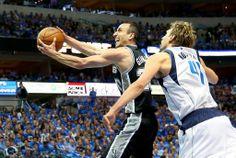 13-14NBAプレーオフ1回戦(7回戦制)、ダラス・マーベリックス(Dallas Mavericks)対サンアントニオ・スパーズ(San Antonio Spurs)第4戦。ダラス・マーベリックスのダーク・ノビツキー(Dirk Nowitzki)をかわし得点を狙うサンアントニオ...