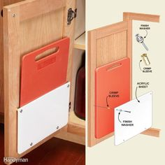 To store cutting boards, mount a rack on a cabinet door (Check out these other inside-cabinet door storage ideas, too). Use a sheet of 1/4-in.-thick acrylic plastic; plywood would also work. You can cut acrylic with a table saw or circular saw as long as you cut slowly. Knock off the sharp edges with sandpaper. Round the lower corners with a belt sander. For spacers, use No. 14-8 crimp sleeves (in the electrical aisle at home centers), or any type of tube or even blocks of wood would work.