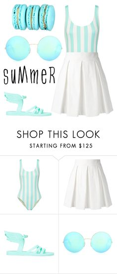 """""""Simple Summer 🏝💧"""" by lily-x-kpop ❤ liked on Polyvore featuring Solid & Striped, Boutique Moschino, Ancient Greek Sandals and Victoria Beckham"""