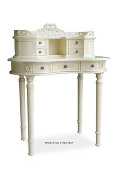 DEAL OF THE DAY!!! Fabulous and Baroque's Adelle Ladies' Desk in Ivory at 30% OFF!!! Petite and lovely, don't let it's small size fool you. This ladies desk features seven drawers ideal for all your beauty products. Contact our sales team today (512) 535-4185