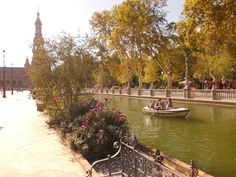 Plaza de España in Seville. You can rent there a small boat to row the canal - so romantic!!!  http://www.roomsevilla.com