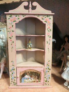 dollhouse miniature Beatrix Potter corner cabinet, by artisan Karen Markland