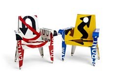 Chairs made from old traffic signs.
