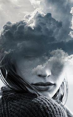 double exposure by Antonio Mora (Spain) - cloudy head Double Exposure Photography, Conceptual Photography, Dark Photography, Creative Photography, Portrait Photography, Experimental Photography, Surrealism Photography, Minimalist Photography, Portraits En Double Exposition