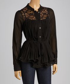 Loving this Black Lace-Yoke Button-Up Top - Women on #zulily! #zulilyfinds