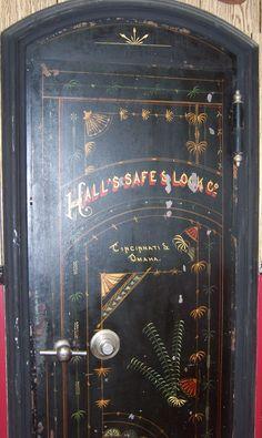 Old bank safe door, Tekahma, Nebraska ca.1900. Door and safe are still installed in the former bank building