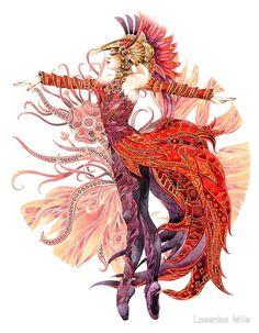 Characters of Russian Folk Tales - Firebird - Firebird, Illustrations, Illustration Art, Costume Design Sketch, Bird Costume, Russian Art, Russian Folk, Art Sketchbook, Vintage Costumes