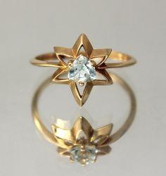 Star ring Topaz ring Blue stone ring Gemstone by JewelryAsteria