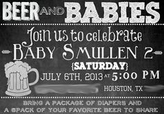Beer, Babies, and BBQ baby Shower invite