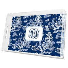 Boatman Geller Personalized Chinoiserie Navy Lucite Tray @Layla Grayce
