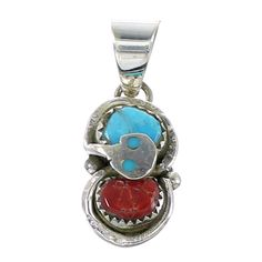 Sterling Silver Turquoise And Coral Effie Calavaza Snake Pendant www.silvertribe,com