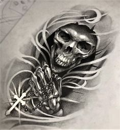 """The Grim Reaper with Rosary Beads"" Tattoo Design"