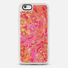 Hot Pink and Gold Baroque Floral Pattern - protective iPhone 6 phone case in Clear and Clear by @micklyn   @casetify