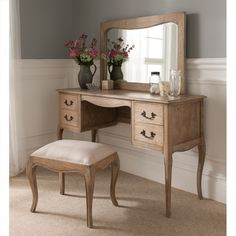 Stunning Montpellier Blanc Dressing Table Set working well alongside our shabby chic furniture Shabby Chic Dressing Table, Dressing Table Design, Vintage Dressing Tables, French Furniture, Table Furniture, Bedroom Furniture, Luxury Furniture, Office Furniture, Shabby Chic Bedrooms