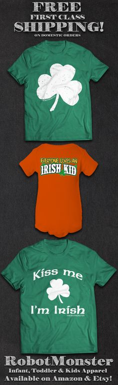 St. Patrick's Day is almost here!  Get the latest in fun clothing designs for the babies, toddlers and kids in your life at the RobotMonster Etsy & Amazon shops! We have a wide selection of onesies/infant bodysuits, toddler t-shirts and youth t-shirts.  Don't forget: We ship ALL domestic orders FREE with USPS First Class mail! https://www.etsy.com/shop/robotmonsterclothing http://www.amazon.com/shops/RobotMonsterClothing