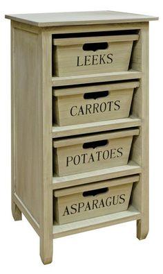 Shabby Chic Kitchen Wooden Fruit Vegetable Cabinet / Veg Storage Rack | eBay