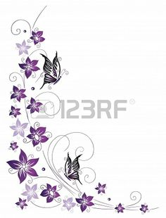 Filigree tendrils with blossoms and butterflies