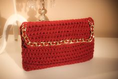 Burgundy Crochet clutch with plume of gold chain by CrochetGrace