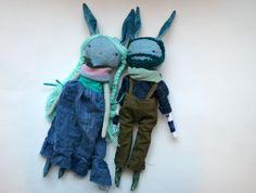 darling blue jean little lu bunny doll duo 2 13ish par humbletoys