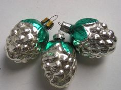 Antique-Russia-Christmas-Silver-glass-ornaments-034-6-Cones-034
