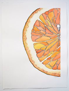 Orange Slice - watercolor painting - Courtney Khail